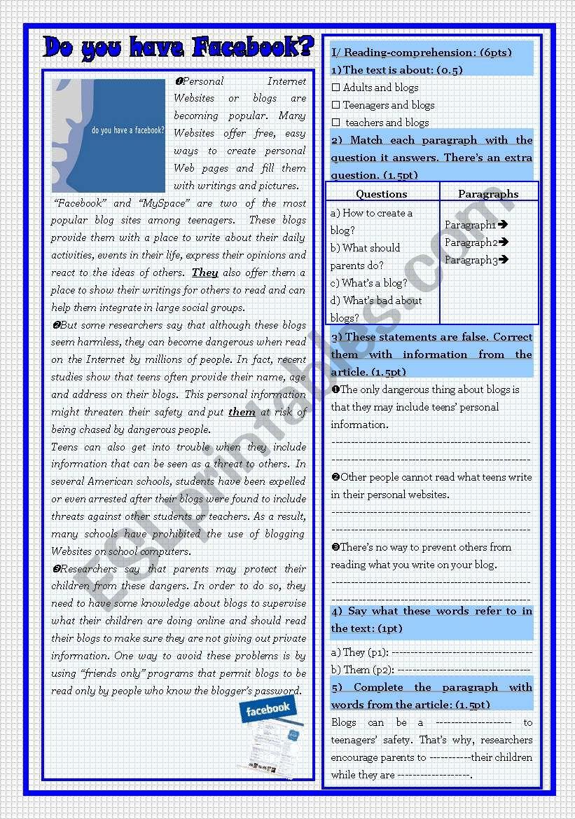 test: reading/ language and writing