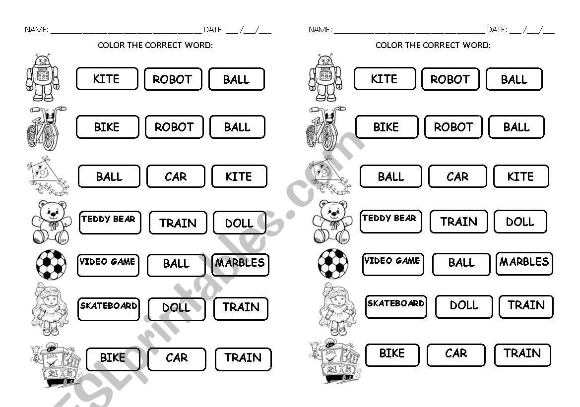 Toys - choose the right word worksheet