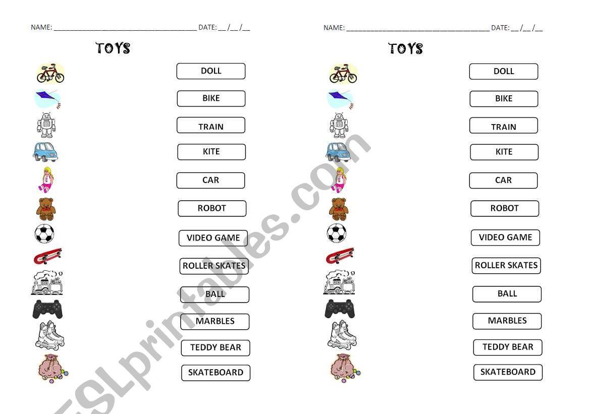 Toys - link worksheet