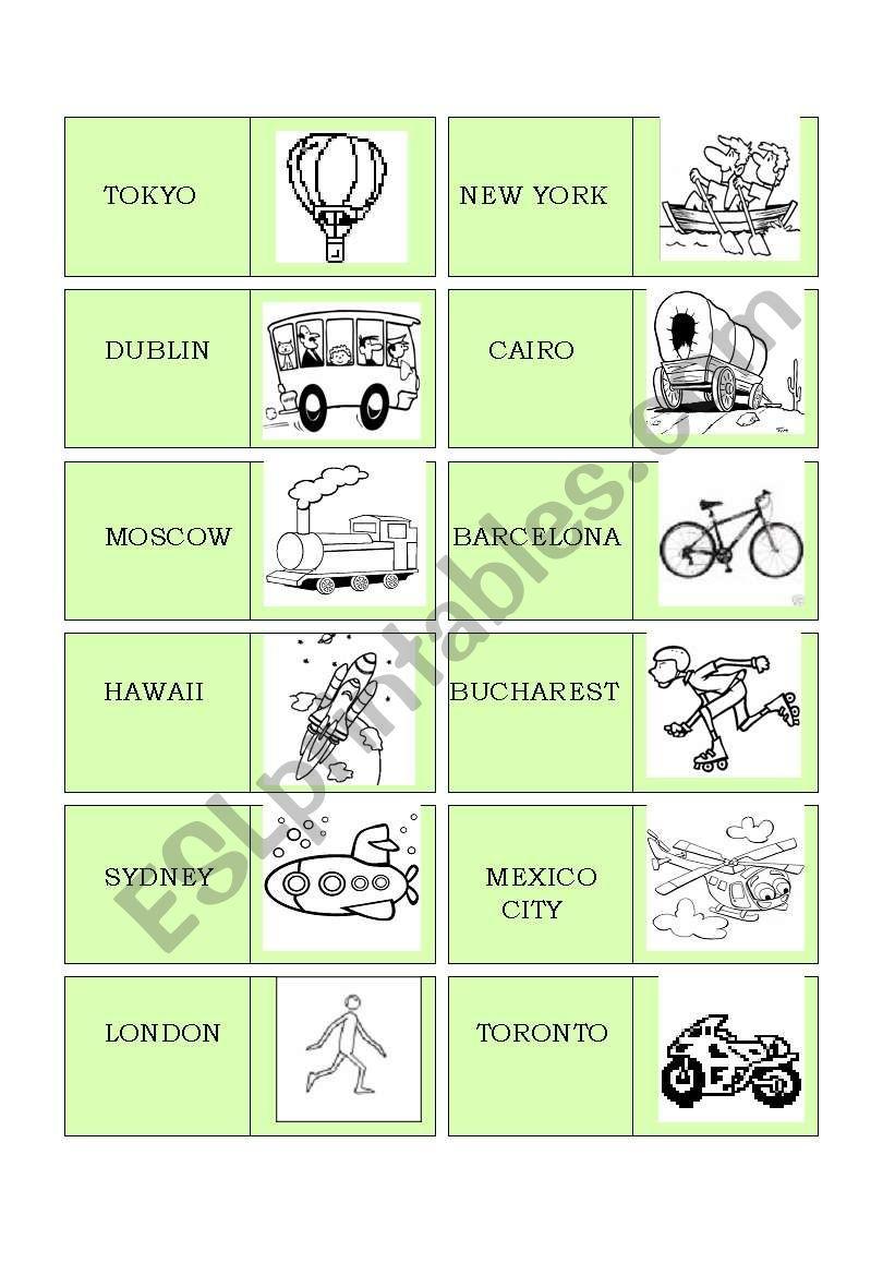 travelling dominoes worksheet