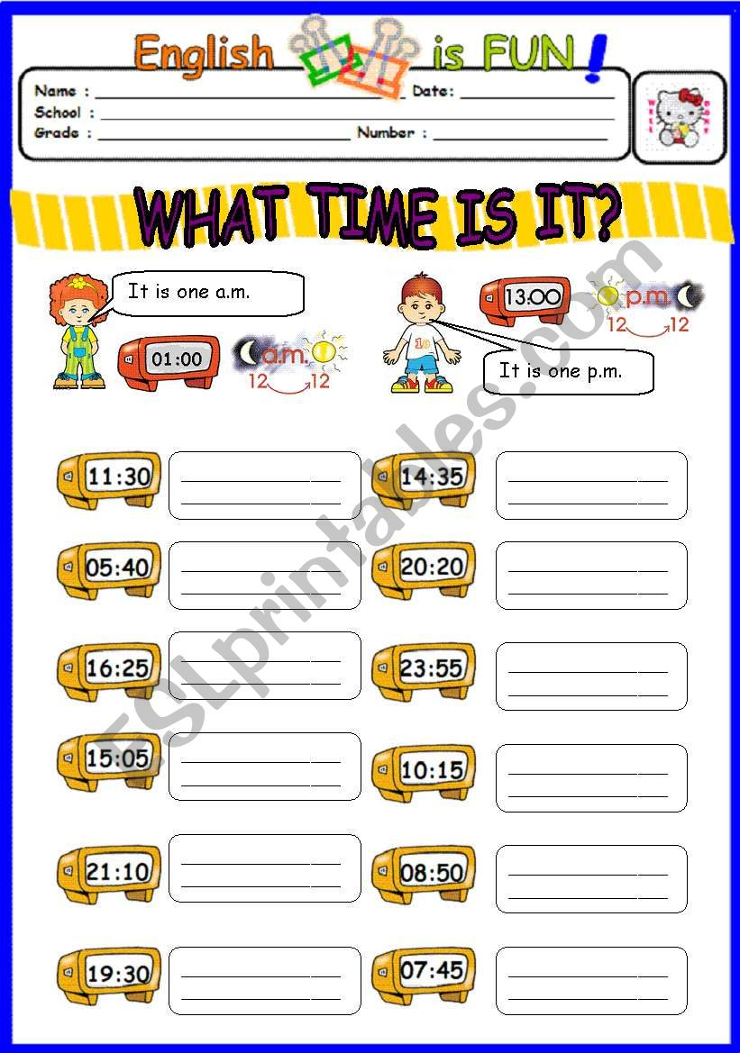 What time is it ? (2) worksheet