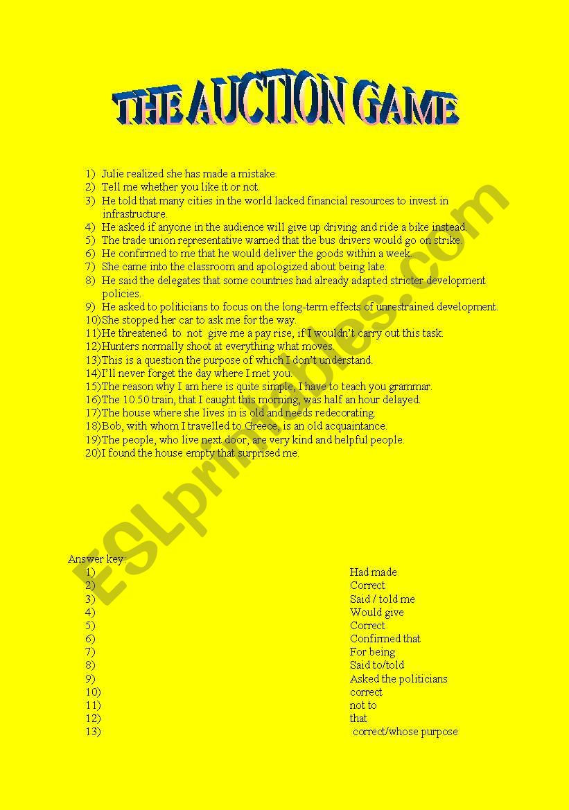 Auction game for indirect speech and relative pronouns