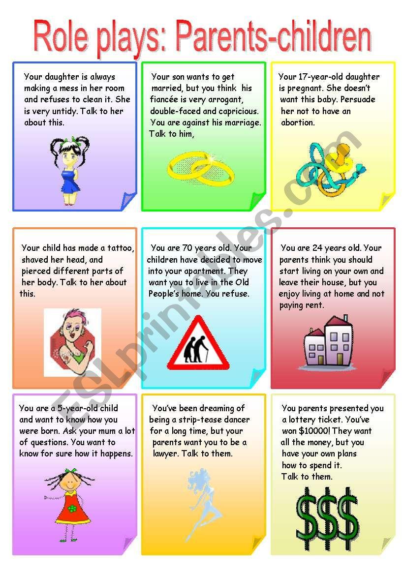 Role plays: Parents-Children worksheet
