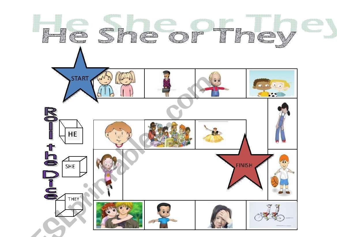 Pronoun Board Game worksheet