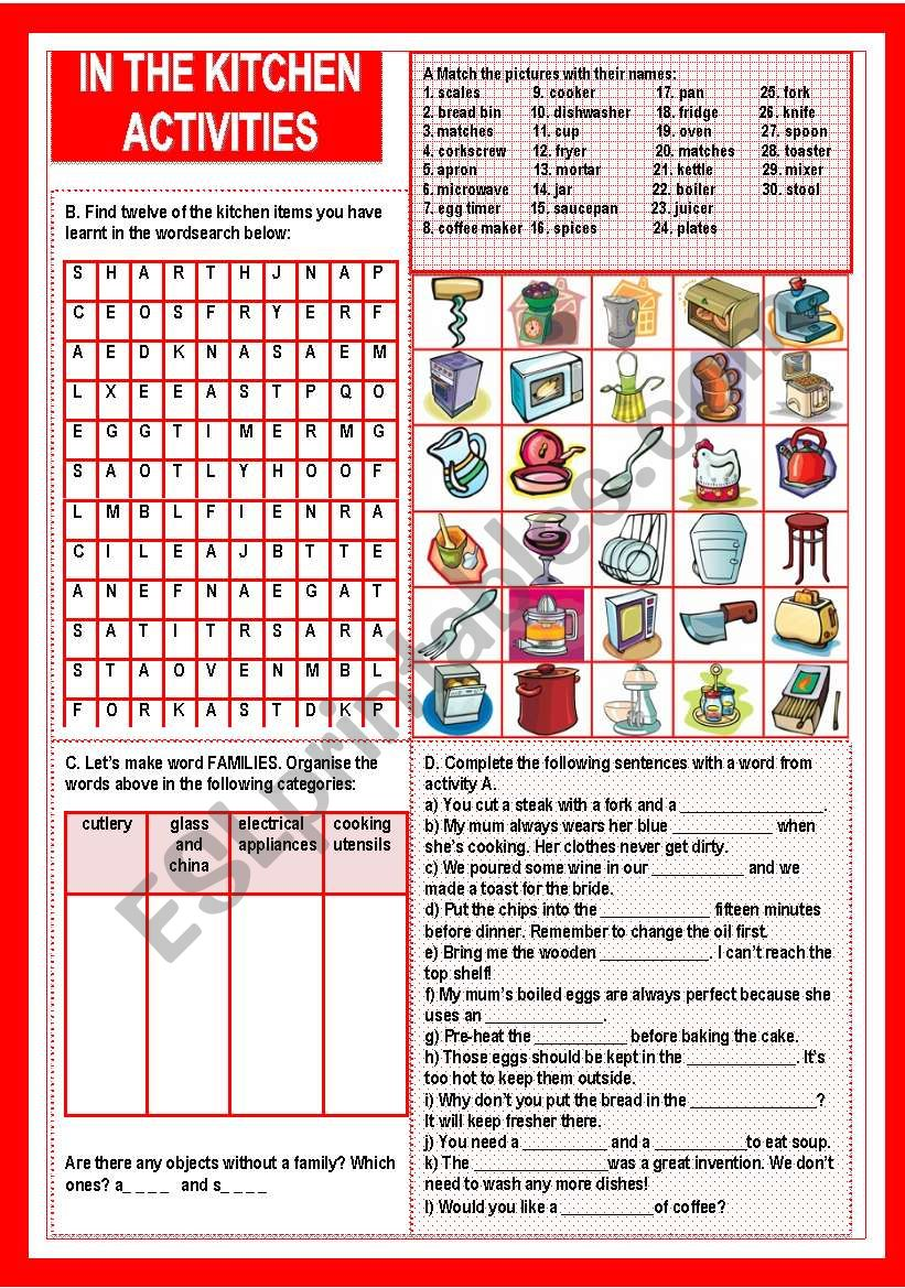 In the kitchen, activities worksheet