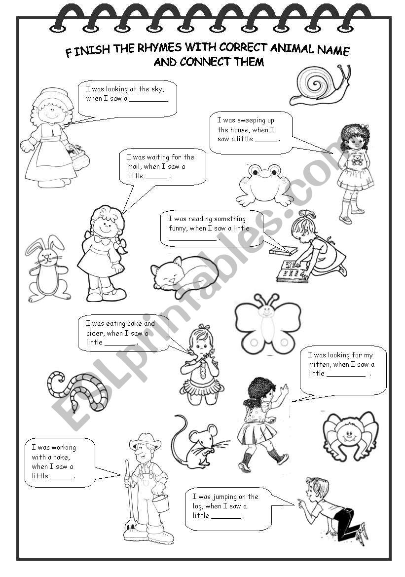 ANIMAL RHYMES worksheet