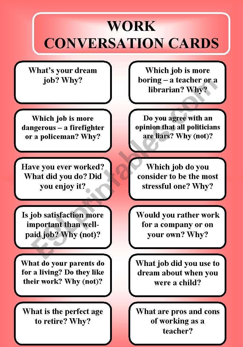 Work - conversation cards (editable)