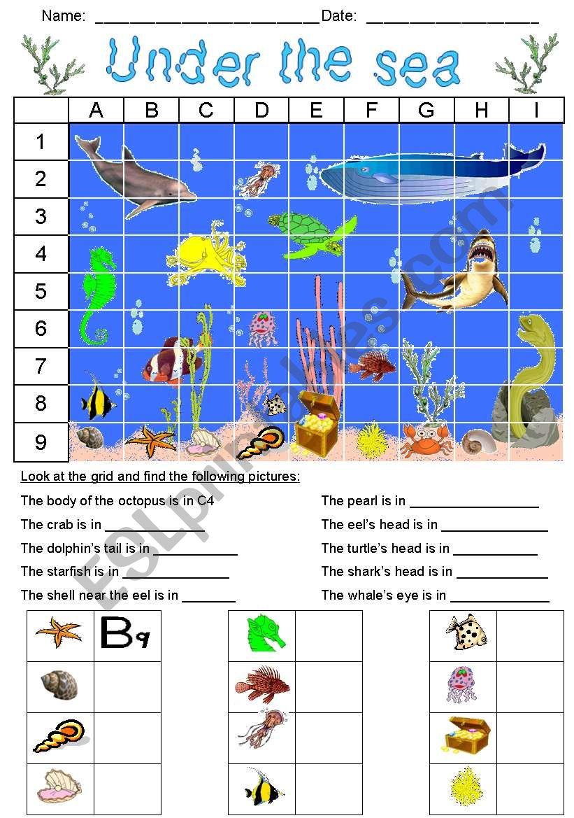 Under the sea - Grid 1 worksheet