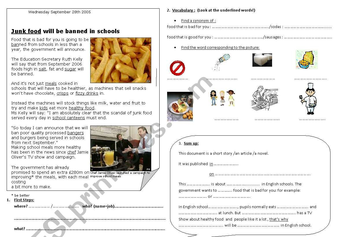 JUNK FOOD IN ENGLAND (1) worksheet