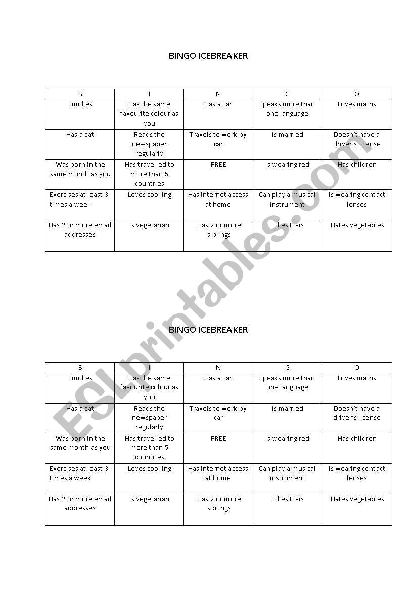 Icebreaker bingo - ESL worksheet by kmatthews
