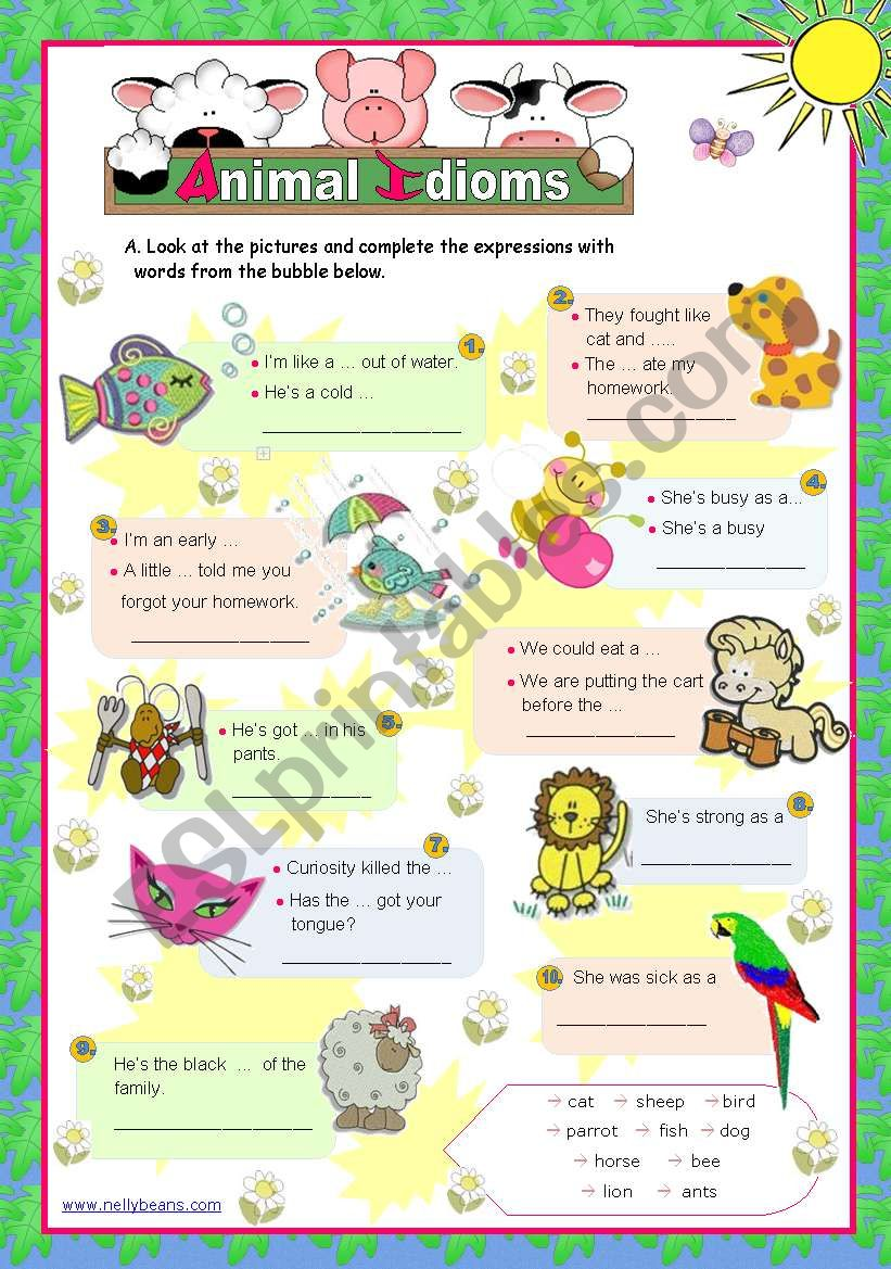 Animal idioms used everyday  (2)  - for elementary/ lower intermediate students
