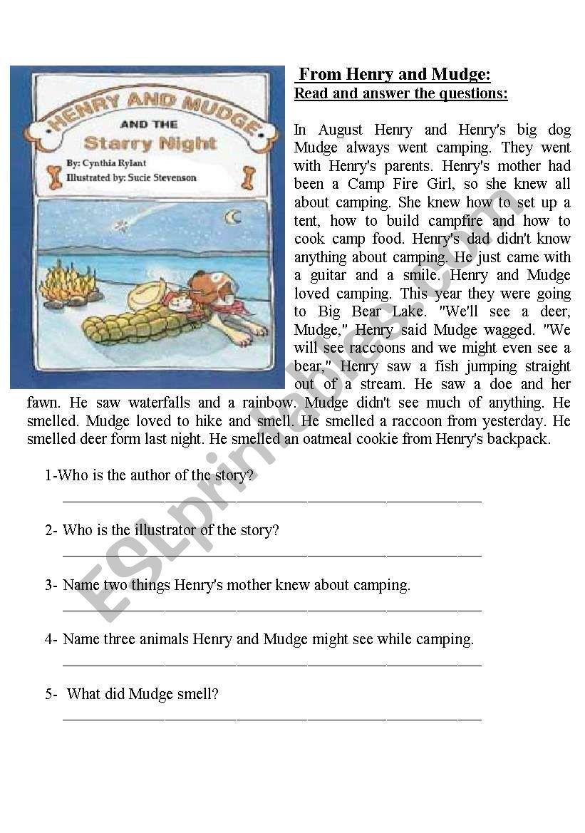 henry and mudge worksheets kidz activities. Black Bedroom Furniture Sets. Home Design Ideas