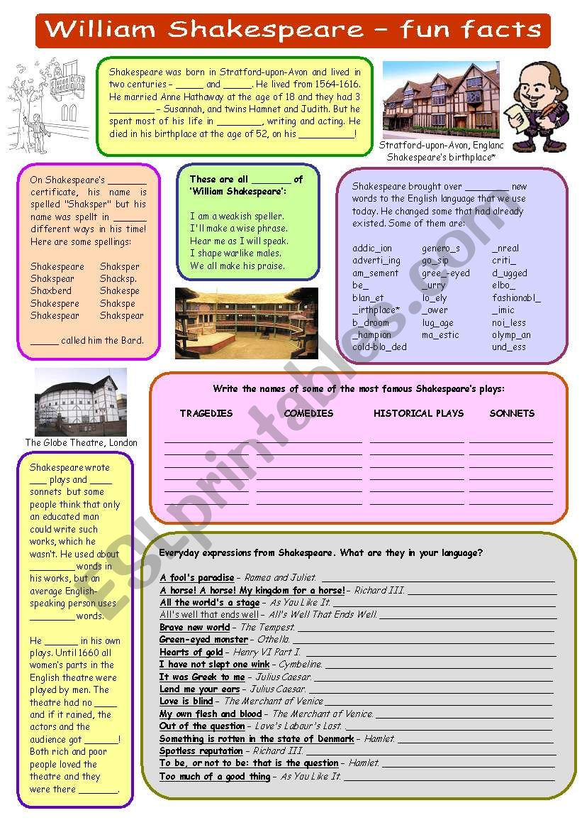 William Shakespeare - fun facts (plus key)