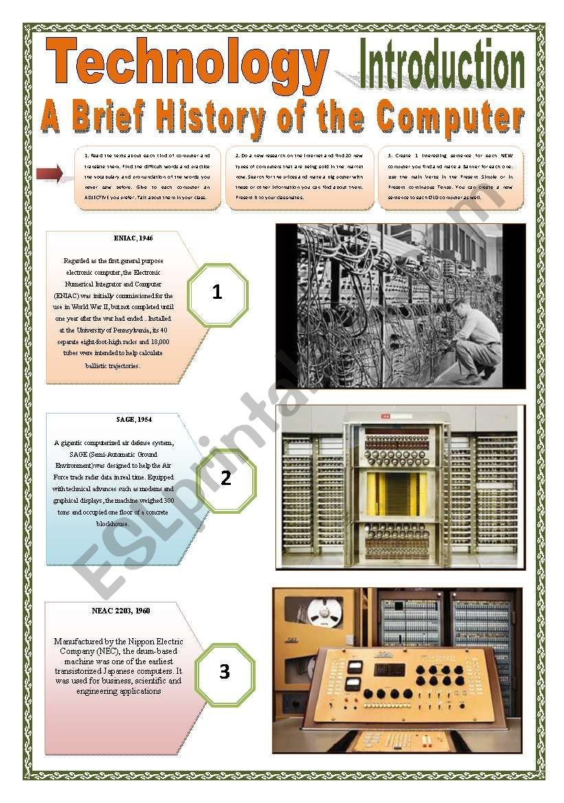 TECHNOLOGY - (INTRODUCTION 6 pages) OLD x NEW Computers - A brief history of the computer with exercises and texts to be read