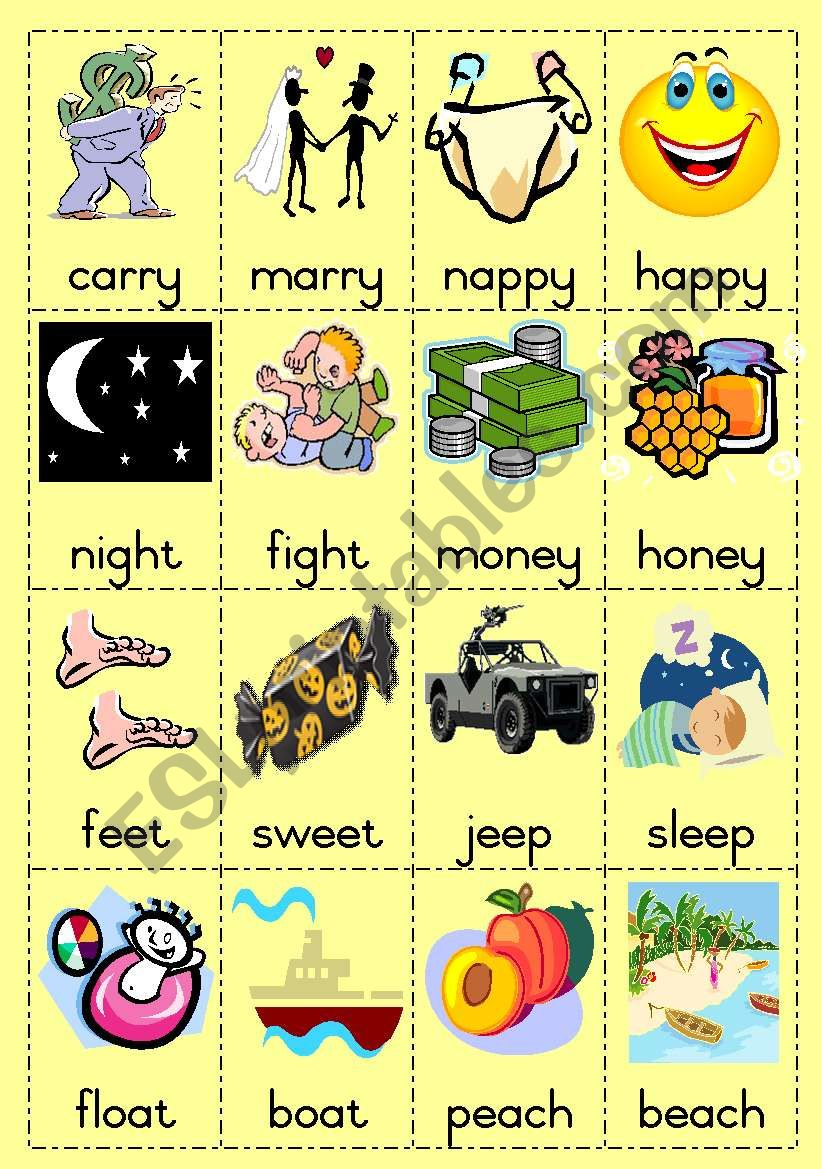 Rhyming words Game page 2 worksheet