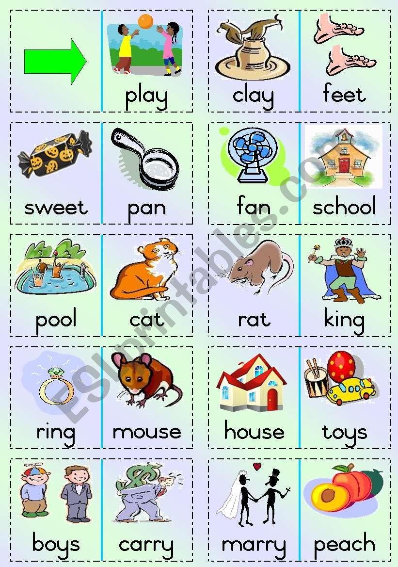 Rhyming words Dominoes worksheet