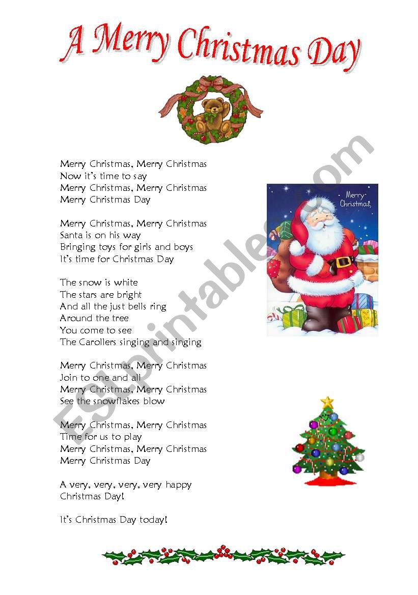 A Merry Christmas Day worksheet