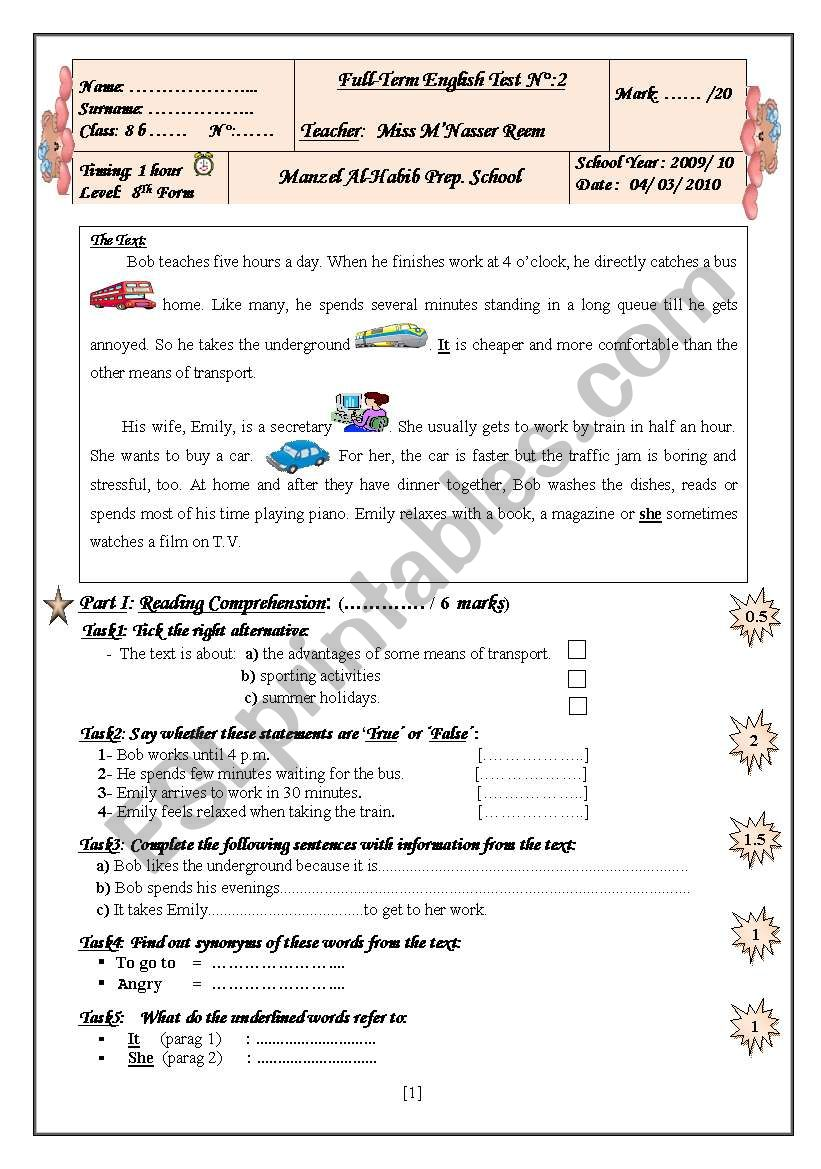 8 Th Form Full-Term English Test (Term 2)