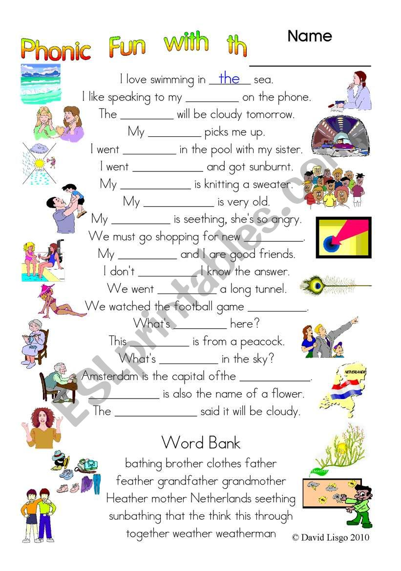 worksheet Th Worksheet english worksheets 3 pages of phonic fun with th worksheet story and key 3