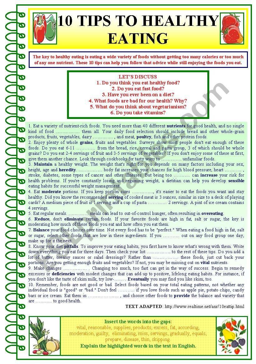 Tips To Healthy Eating worksheet