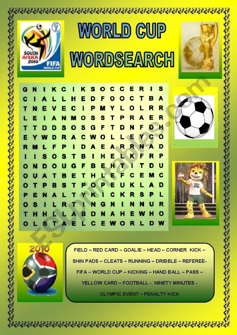 World Cup 2010 worksheet