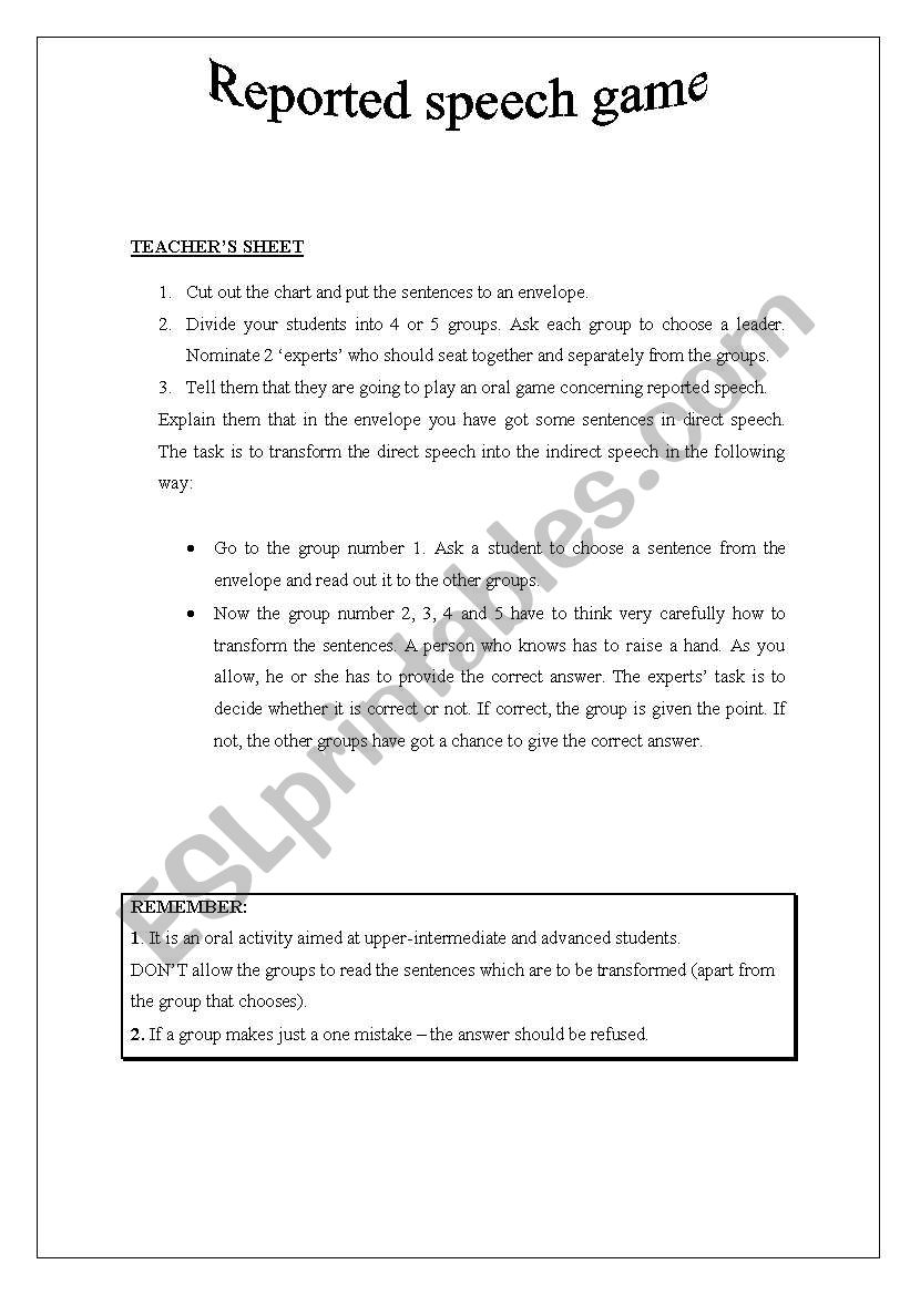 REPORTED SPEECH ORAL GAME worksheet