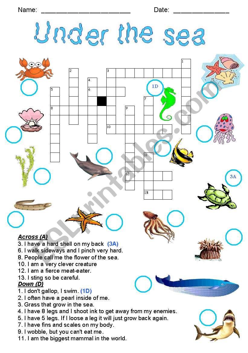 under the sea crossword esl worksheet by joeyb1. Black Bedroom Furniture Sets. Home Design Ideas