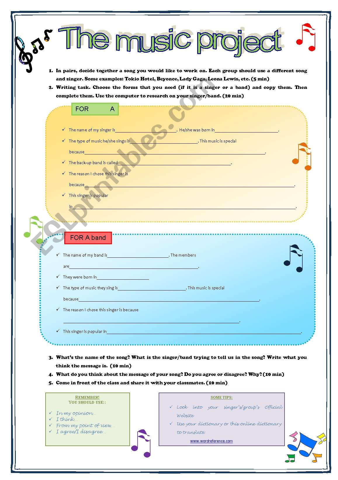 The Music Project worksheet
