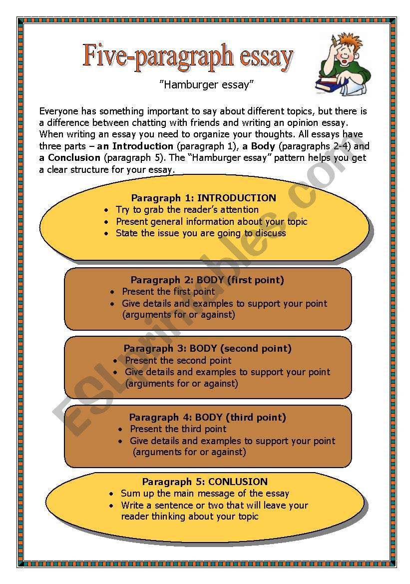 five-paragraph essay - esl worksheet by guni