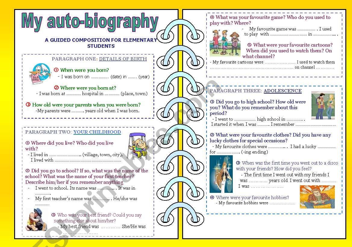 My auto-biography worksheet