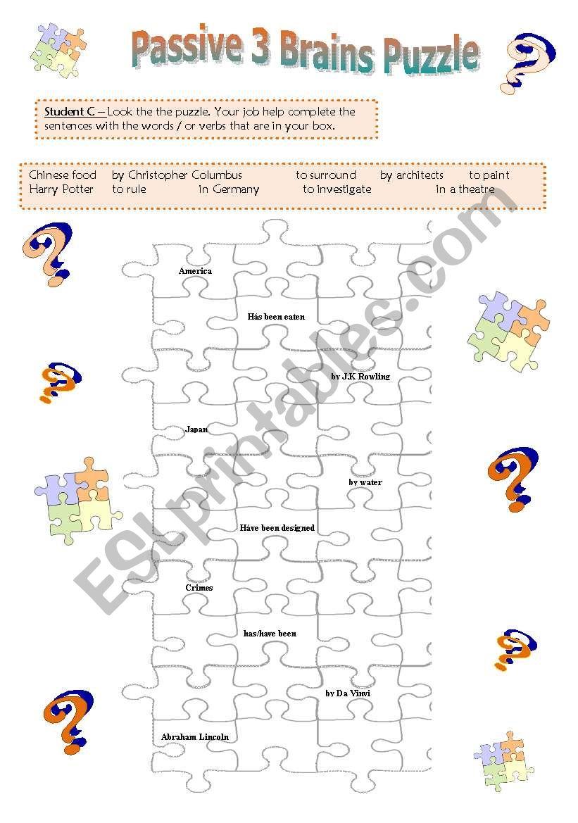 Passive Voice Puzzle Game Student B Esl Worksheet By Pat Trixa