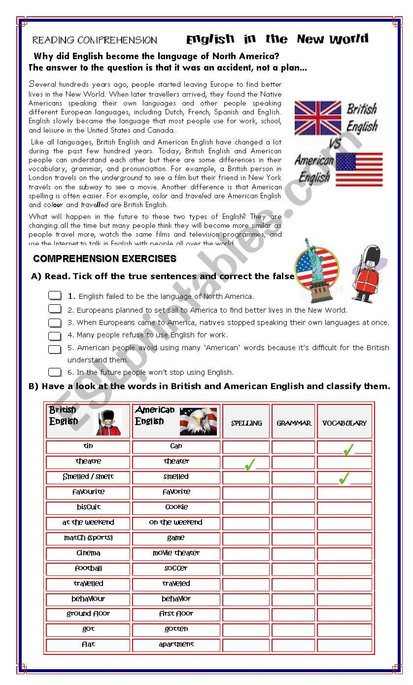 - READING COMPREHENSION - English In The New World - ESL Worksheet