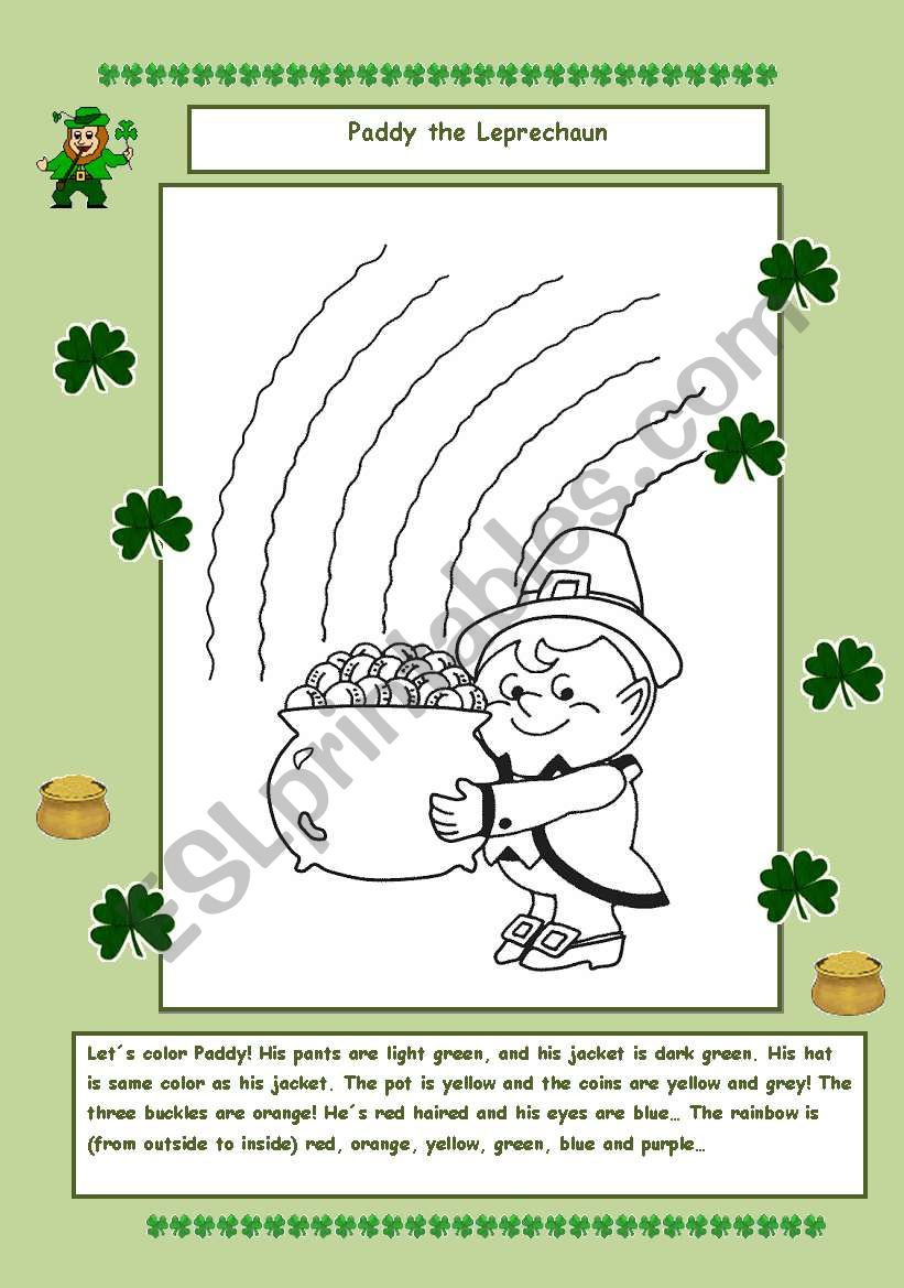 Paddy the Leprechaun worksheet