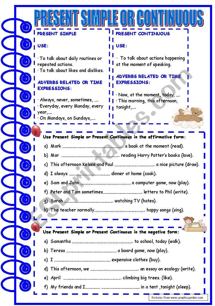 Present Simple or Continuous worksheet