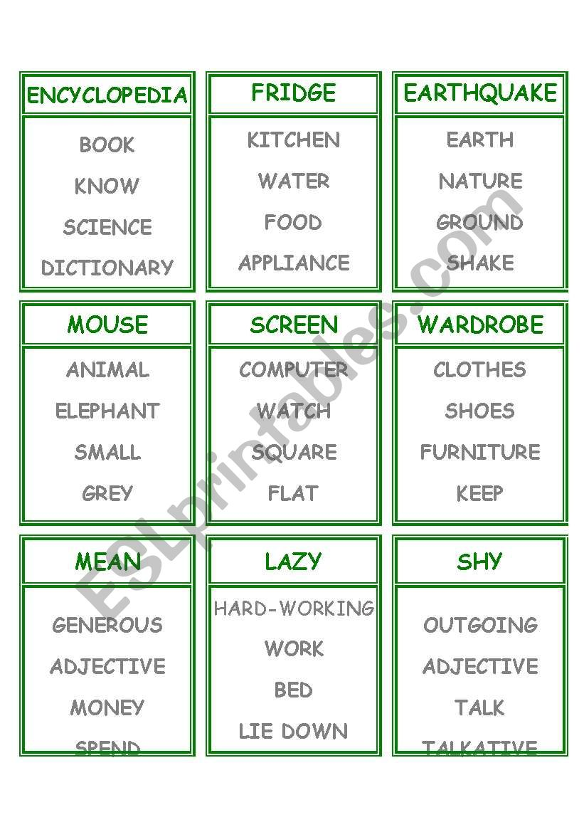 Taboo worksheet