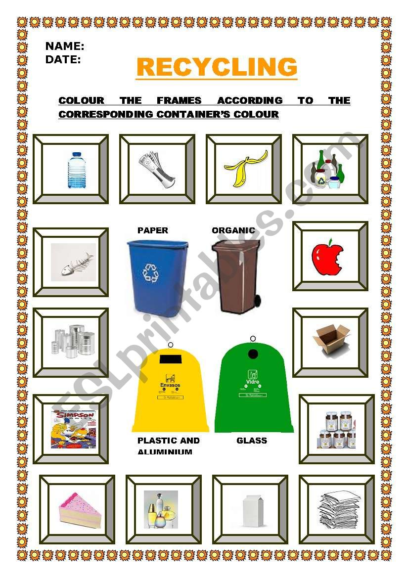 Let S Recycle Esl Worksheet By Escolapia