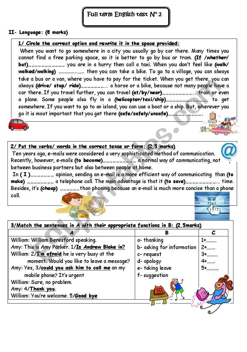 9th form test worksheet