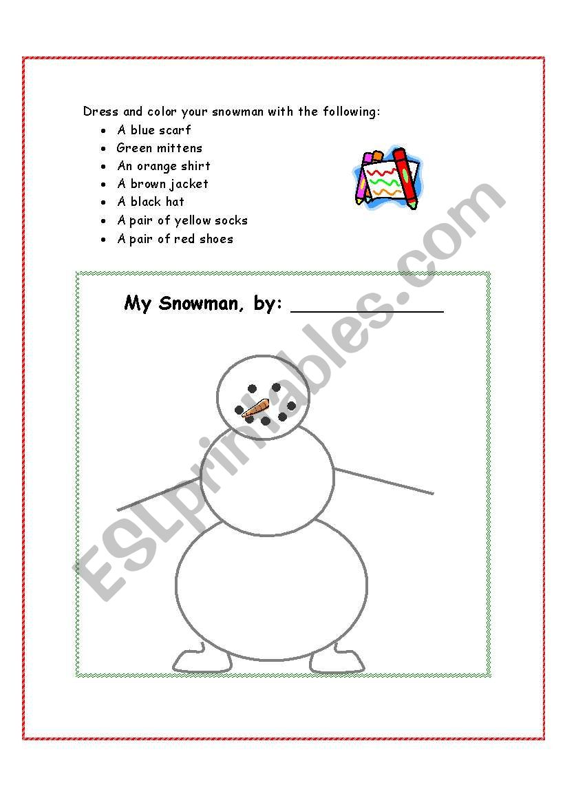 Dress Your Snowman worksheet