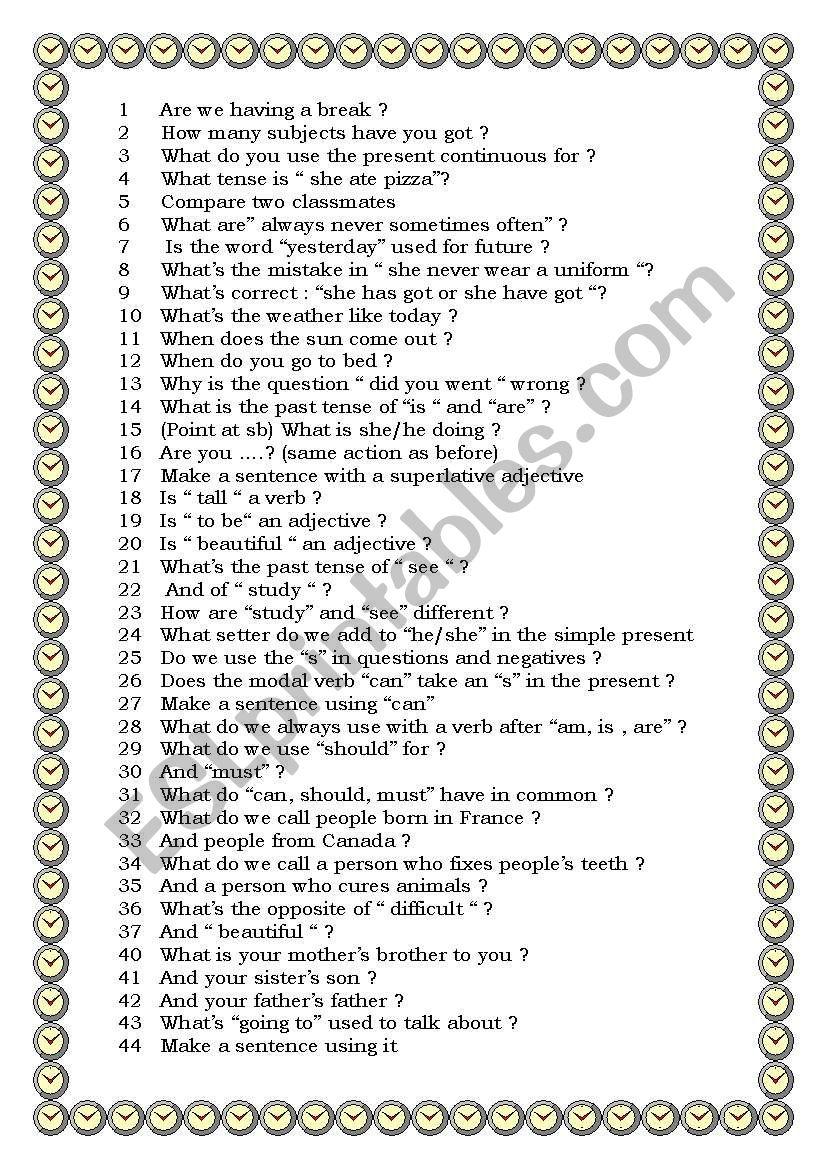 Jeopardy questions worksheet