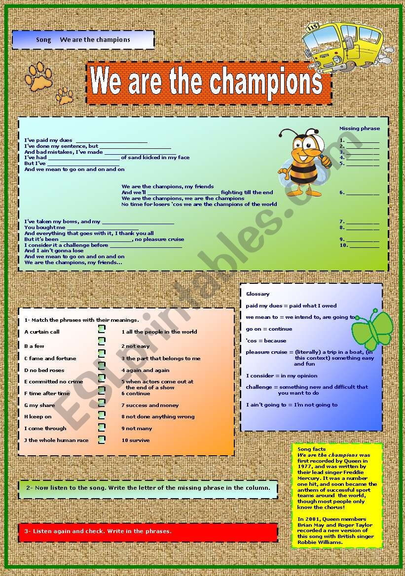 Queen - We are the champions worksheet