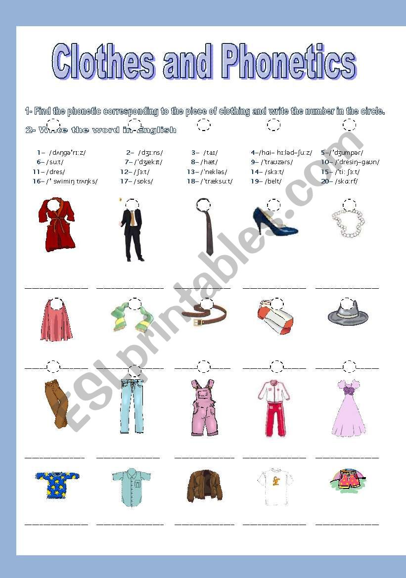 CLOTHES AND PHONETICS + KEY worksheet