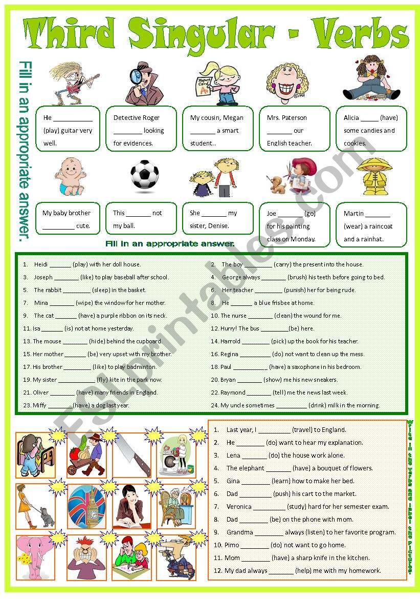 Third Singular - Verbs -B/W worksheet