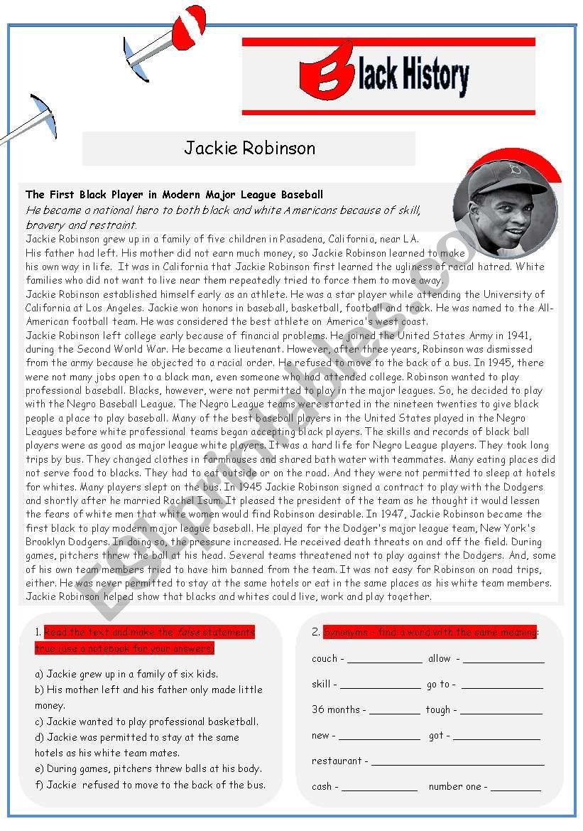 Black History Jackie Robinson 2 Pages Esl Worksheet
