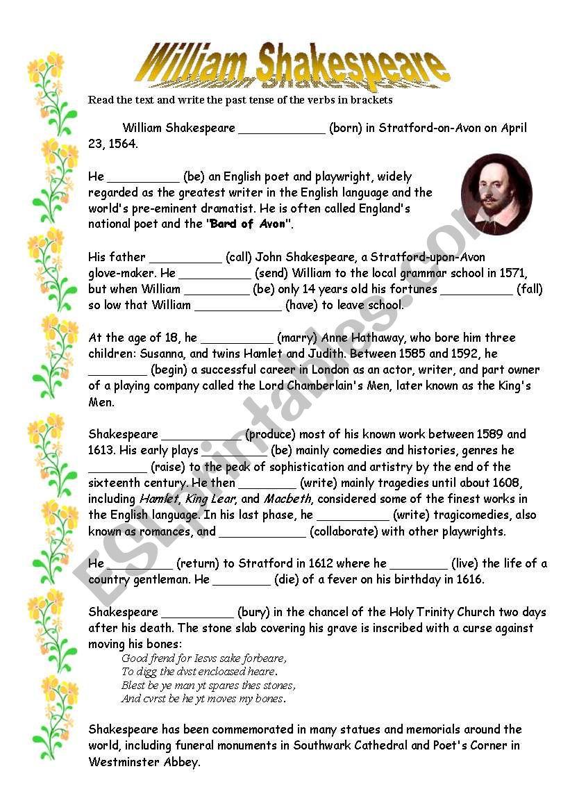 Worksheets Shakespeare Worksheets william shakespeare esl worksheet by lotas worksheet