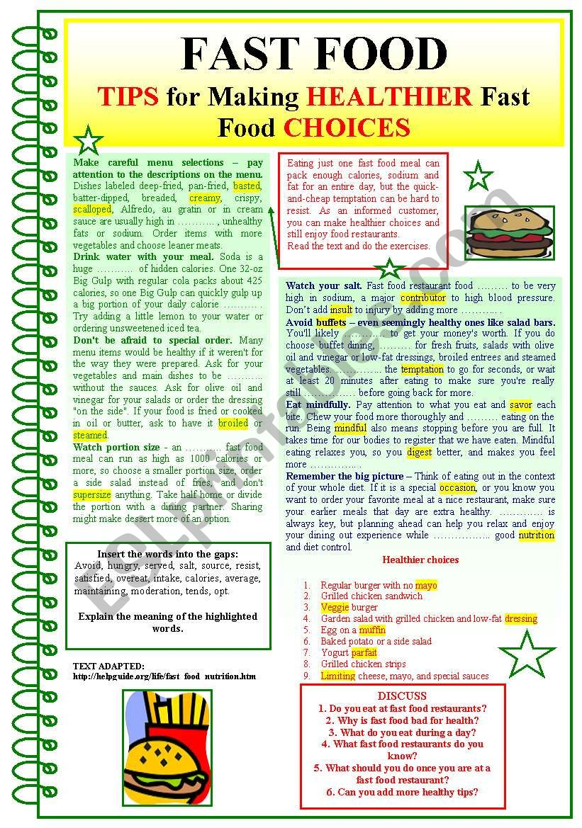 FAST FOOD (Tips for making HEALTHIER fast food choices)