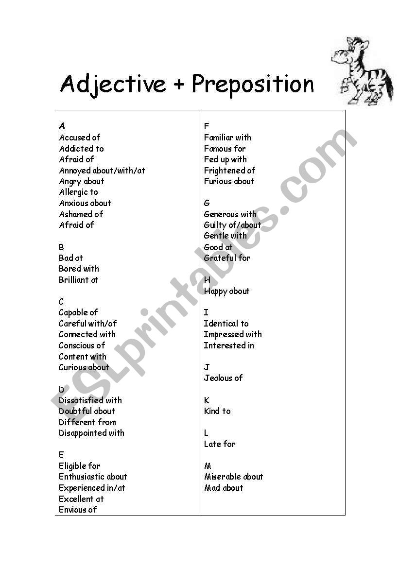 photo regarding Printable Preposition List identified as Advectives + prepositions and Verbs + prepositions listing