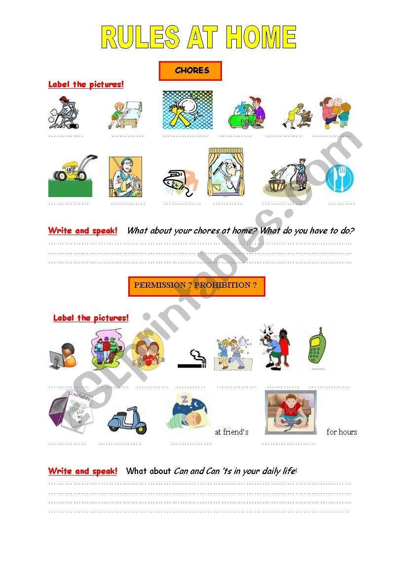 English worksheets: Rules at home