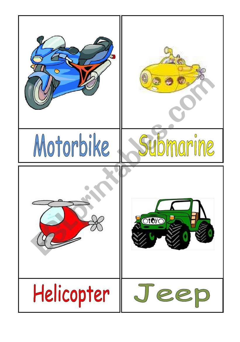 Means of Transport Flashcards - Part 1/3
