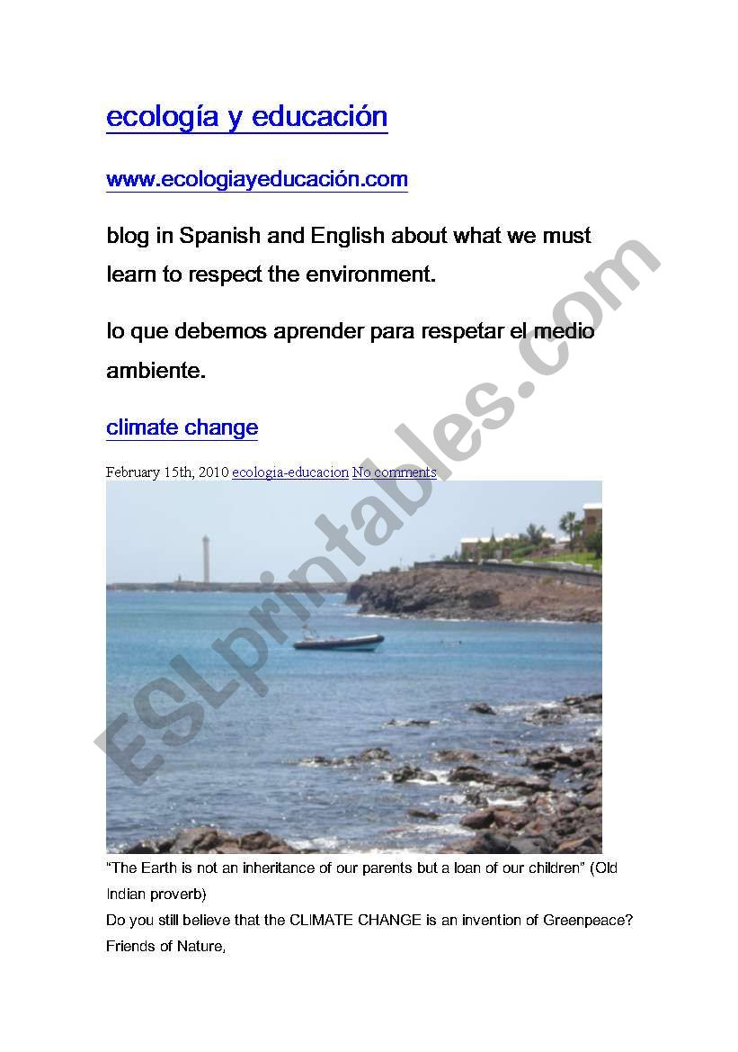 ecology and education worksheet