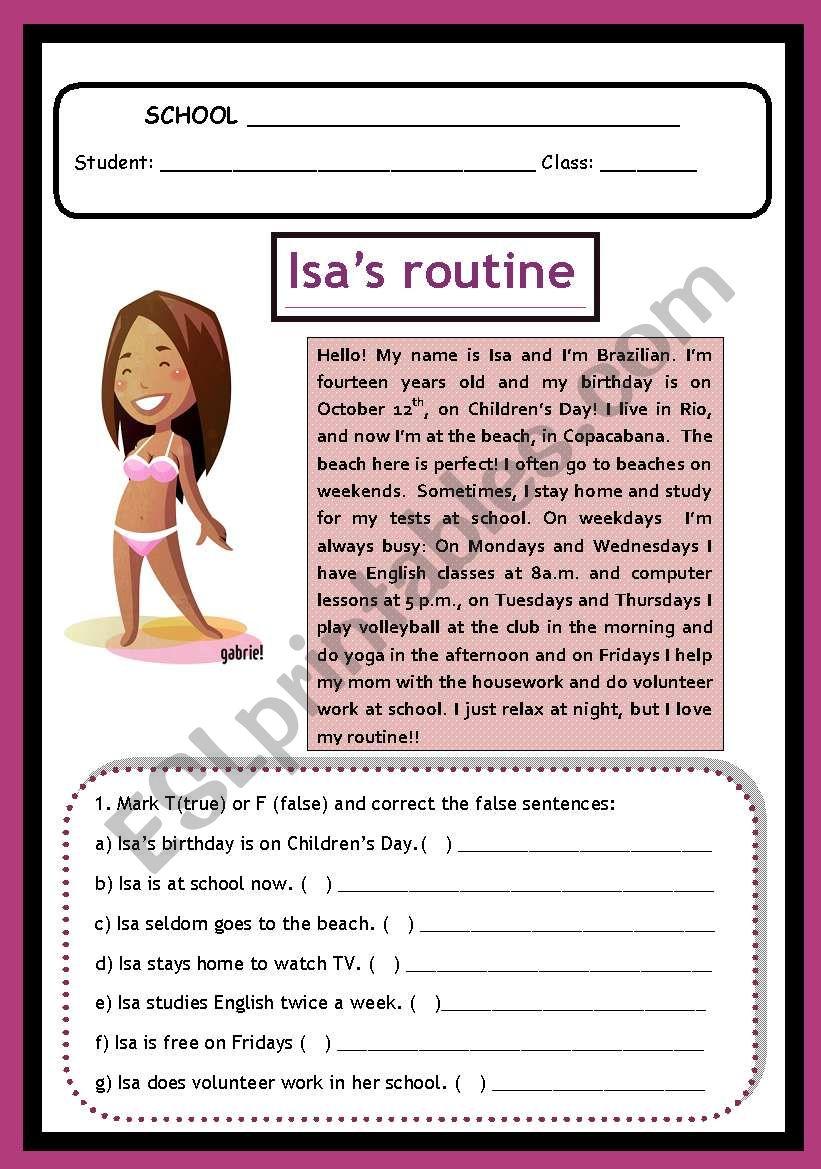 Isa´s Routine worksheet